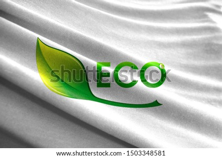 Ecological logo shown on wavy fabric. The Concept of Ecology with Environmental Pollution from Domestic and Industrial Waste. #1503348581