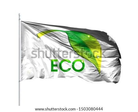 Ecological logo with flagpole isolated on a white background. The Concept of Ecology with Environmental Pollution from Domestic and Industrial Waste. #1503080444