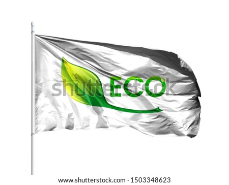 Ecological logo with flagpole isolated on a white background. The Concept of Ecology with Environmental Pollution from Domestic and Industrial Waste. #1503348623