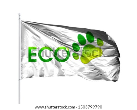 Ecological logo with flagpole isolated on a white background. The Concept of Ecology with Environmental Pollution from Domestic and Industrial Waste. #1503799790