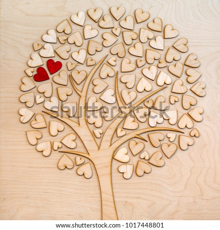 Ecological love tree with two red hearts #1017448801