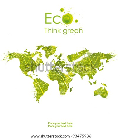 Ecological map symbolizes the protection of the environment ,isolated on white background. Think Green. Ecology Concept. - stock photo