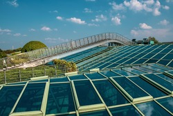 Ecological modern building of library in Warsaw. Poland. Modern garden with plants and glass roofs, travel attraction