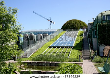 Ecological modern building . Warsaw University in Poland.
