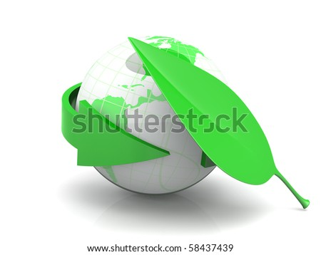 Ecological World. 3D rendered Illustration. Isolated on white.