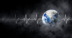 Ecology and Healthcare Concept : Blue planet earth with white pulse line and smoke in black background. (Elements of this image furnished by NASA.)