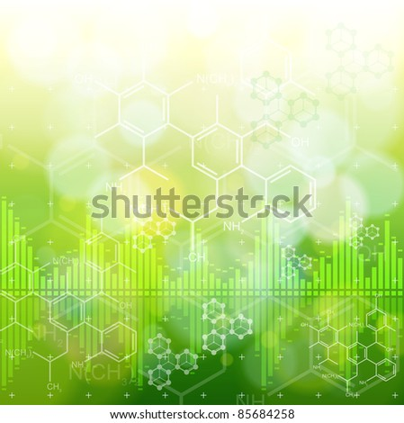 ecology background: chemical formulas, digital wave & green bokeh abstract light. Bitmap copy my vector ID 73068163 - stock photo
