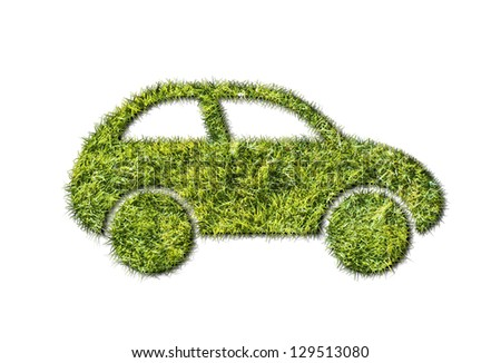 ecology car from grass on white background
