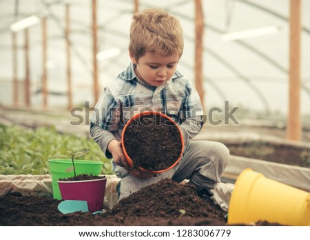ecology care. ecology care by planting trees and flowers. ecology care concept. small kid farmer care about ecology. perfect gift for eny home #1283006779