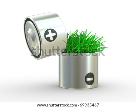 ecology concept a net energy. A battery and a grass on a white background