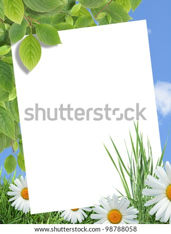 Ecology concept. Blank sheet of paper for text on nature background with green plants and flowers