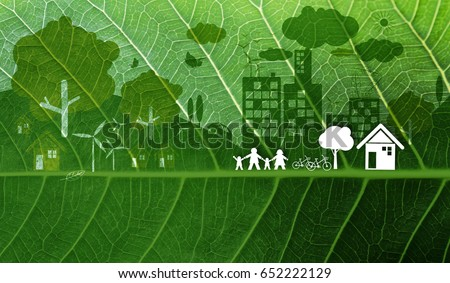 Ecology concept design on fresh green leaf texture background #652222129