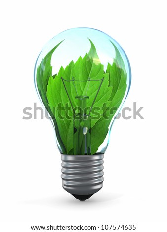 Ecology concept. Light bulb with leaf. 3d