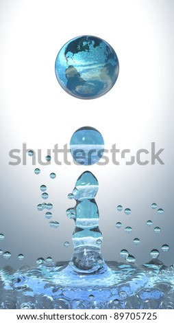 Ecology concept. Water drop with earth planet
