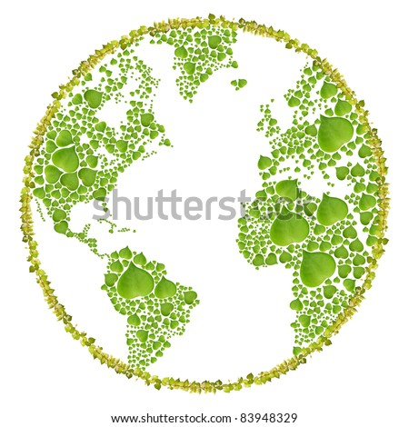 ecology concept with heart of green leaves in world sign, isolated on white background