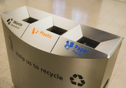 Ecology container recycling bins at the airport