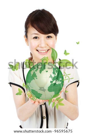 Ecology earth. Portrait of asian woman collage.