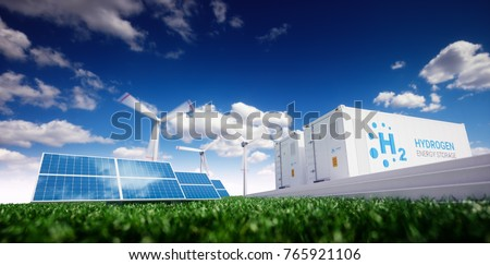 Ecology energy solution. Power to gas concept. Hydrogen energy storage with renewable energy sources - photovoltaic and wind turbine power plant in a fresh nature. 3d rendering.
