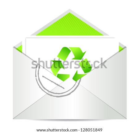 Ecology envelope with symbol of recycling illustration design