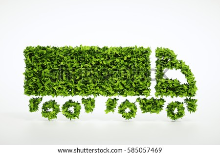 Ecology logistics concept. 3D illustration of a green truck isolated on white.