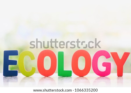 Ecology wooden word against blurred natural background for nature and environment concept #1066335200