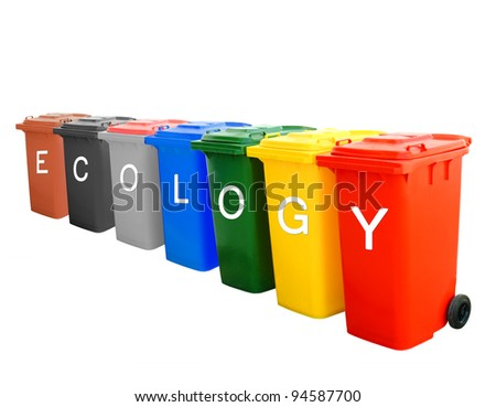 Ecology wording on colorful recycle bins isolated