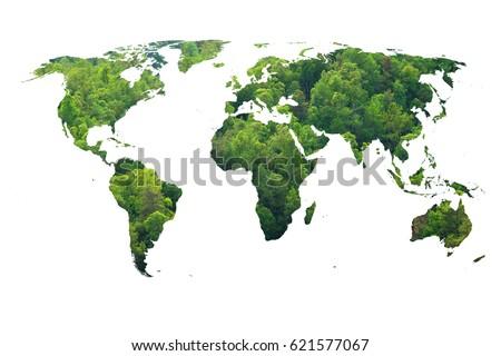 Ecology world map, green forest design.