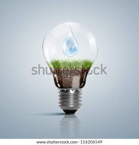 Ecoloy illustration Lamp bulb with clean nature and renewable energy symbol inside - stock photo