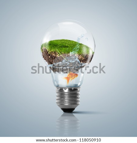 Ecoloy illustration Lamp bulb with clean nature and renewable energy symbol inside