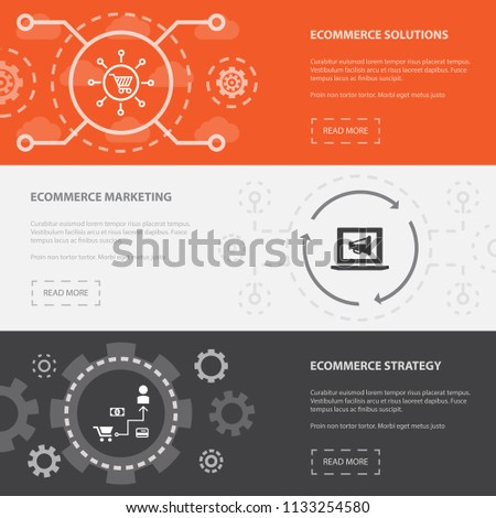 eCommerce 3 horizontal webpage banners template with eCommerce solutions, eCommerce marketing, eCommerce Strategy concept. Flat modern isolated icons illustration.