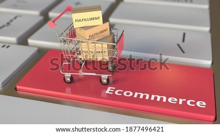 Ecommerce text on computer keyboard and cartons with fulfillment words in small shopping cart. electronic business conceptual  animation 3D rendering Stock photo ©