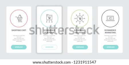 eCommerce 4 webpage banners line concept template with shopping cart, eCommerce platform, eCommerce solutions, eCommerce marketing icons. Modern web UI design concept
