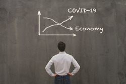 econimical crisis concept due to coronavirus COVID-19 spread in the world, virus curve up, economy down