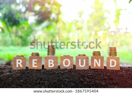 Economic and business recovery rebound, economy bounce back, regain, pick up and comeback concept. Wooden blocks with w shape and v shape increasing stack of coins on natural background at sunrise. Foto d'archivio ©