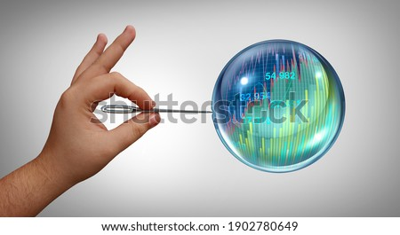 Economic bubble burst and Stock market speculation concept and overvalued economy as a financial crisis and finance risk to investors and speculative valuation with 3D render elements. Сток-фото ©