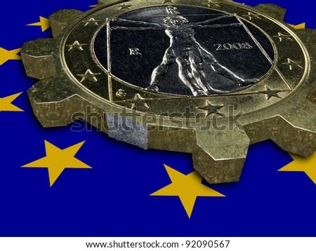 Economic crisis - end of EURO - broken EURO coin gear