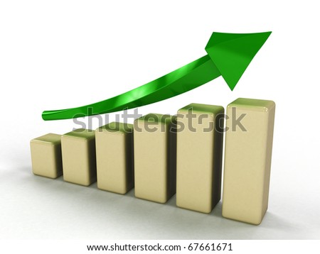 Economic growth charts from a thick green arrow and a white-yellow boxes on a white background 1