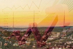 Economic growth concept with charts and city view