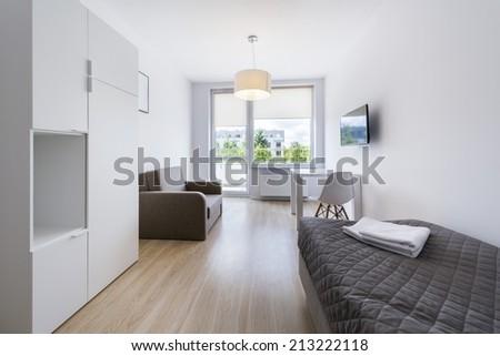 Economic, modern sleeping room interior design in scandinavian style
