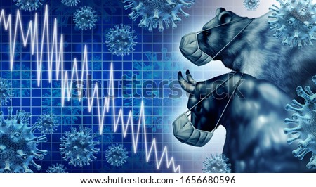 Economic pandemic and coronavirus economy or virus Outbreak and Stock market fear as a bull and bear crisis and sick financial health as a business recession concept with 3D illustration elements. Stock photo ©