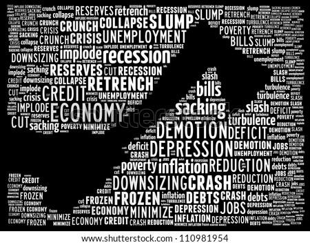 Economic recession: text collage