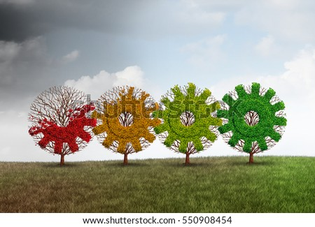 Economic recovery concept business growth metaphor as a group of recovering trees shaped as a gear or cog as a financial revitalization metaphor with 3D illustration elements.