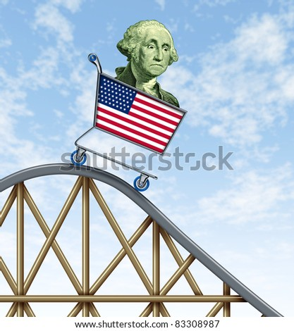 Economic rollercoaster ride representing the falling value of the american dollar due to international economy stress represented by a falling shopping cart with George Washington in it.