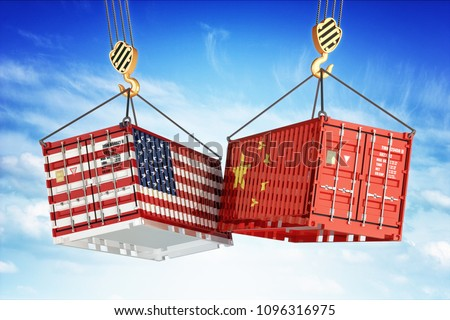 Economic trade war between USA and China, freight transportation concept, cargo containers with USA and China flags hoisted by crane hooks on blue cloudy sky background, 3d illustration