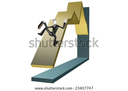 Economical crisis concept. Business man with briefcase falling down on chart. 3d image isolated on white.