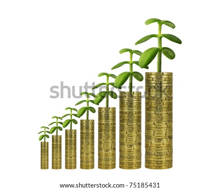 Economical Growth with Green Values. Plants growing from Piles of Coins.