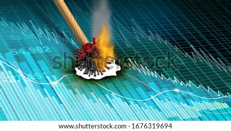 Economy and disease as an economic pandemic fear and coronavirus fears or virus Outbreak and Stock market selling as a financial health and business recession concept with 3D illustration elements. Stock photo ©