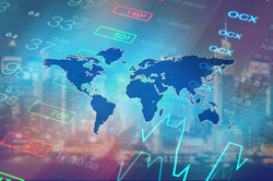 Economy background with abstract stock market graph, tickers, financial data and blue world map. Wallpaper for global economy and financial news.