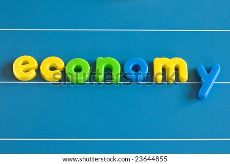 economy, childrens letters on a board
