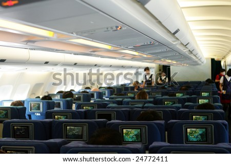 Economy Class cabin of airplane